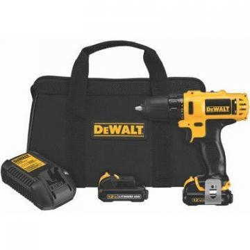 "DeWalt Cordless Drill/Driver Kit, 3/8"", 2-Speed, LED Worklight, 12-Volt Max Lith"