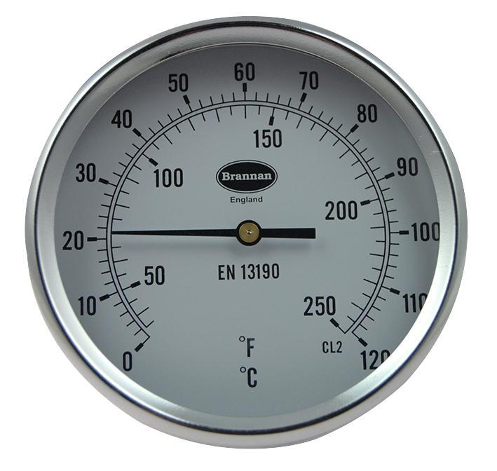 Brannan Direct Mounting Dial Thermometer with 0°C to +120°C Temperature Range