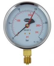 Brannan Pressure Gauge with 100mm Dial & 0bar to 25bar Measuring Range