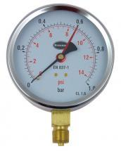 Brannan Pressure Gauge with 100mm Dial & 0bar to 1bar Measuring Range