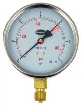 Brannan Pressure Gauge with 100mm Dial & 0bar to 6bar Measuring Range