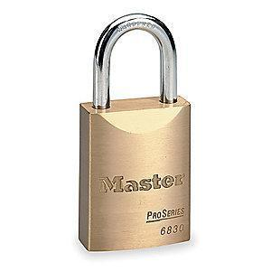"Master Lock Open Shackle Keyed Padlock, 1-1/16"" Shackle Height, Brass"