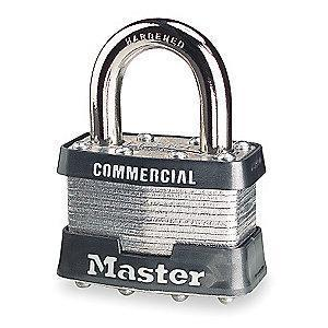 "Master Lock Open Shackle Keyed Padlock, 15/16"" Shackle Height, Silver"
