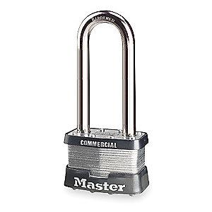 "Master Lock Open Shackle Keyed Padlock, 2-1/2"" Shackle Height, Black/Silver"