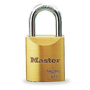 "Master Lock Open Shackle Keyed Padlock, 1-3/16"" Shackle Height, Gold"