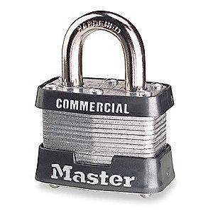 "Master Lock Open Shackle Keyed Padlock, 3/4"" Shackle Height, Silver"