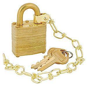 "Master Lock Open Shackle Keyed Padlock, 9/32"" Shackle Height, Gold"