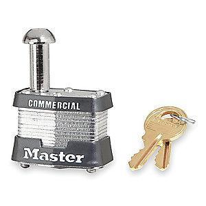 "Master Lock Open Shackle Keyed Padlock, 7/8"" Shackle Height, Silver"