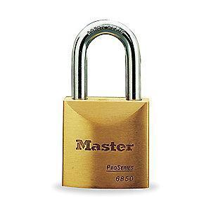 "Master Lock Open Shackle Keyed Padlock, 1-3/16"" Shackle Height, Brass"
