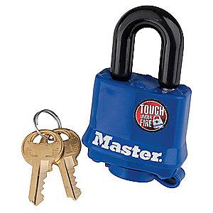 "Master Lock Open Shackle Keyed Padlock, 1"" Shackle Height, Blue"