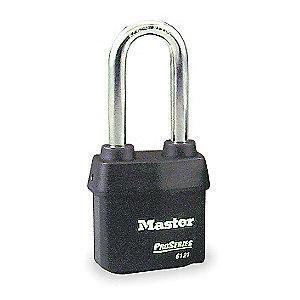 "Master Lock Open Shackle Keyed Padlock, 2-1/2"" Shackle Height, Black"