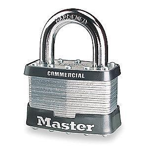 "Master Lock Open Shackle Keyed Padlock, 1-1/4"" Shackle Height, Black/Silver"