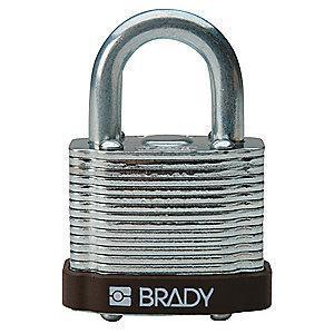 "Brady Open Shackle Different-Keyed Padlock, 3/4"" Shackle Height, Brown"