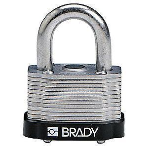 "Brady Open Shackle Different-Keyed Padlock, 3/4"" Shackle Height, Black"
