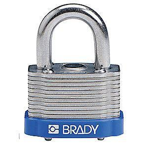 "Brady Open Shackle Different-Keyed Padlock, 3/4"" Shackle Height, Blue"