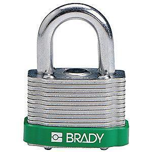 "Brady Open Shackle Different-Keyed Padlock, 3/4"" Shackle Height, Green"