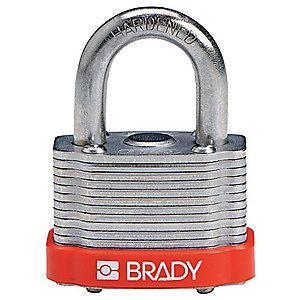 "Brady Open Shackle Different-Keyed Padlock, 3/4"" Shackle Height, Red"