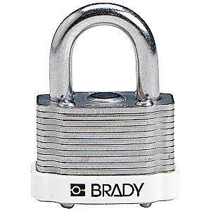 "Brady Open Shackle Different-Keyed Padlock, 3/4"" Shackle Height, White"