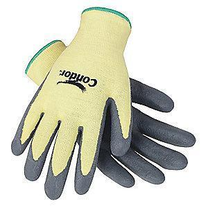 Condor Nitrile Cut Resistant Gloves, Cut Level 4, Kevlar Lining, Gray/Yellow 2XL