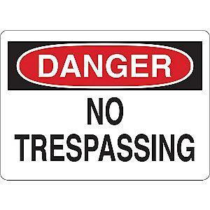 "Condor Trespassing and Property, Danger, Vinyl, 5"" x 7"", Adhesive Surface"