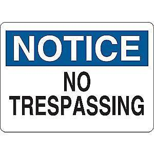 "Condor Trespassing and Property, Notice, Vinyl, 7"" x 10"", Adhesive Surface"