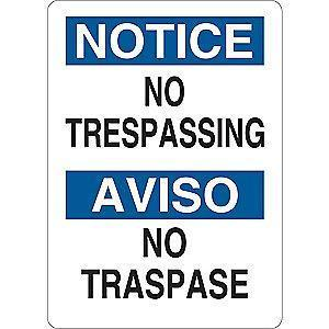 "Condor Trespassing and Property, Notice, Vinyl, 7"" x 5"", Adhesive Surface"