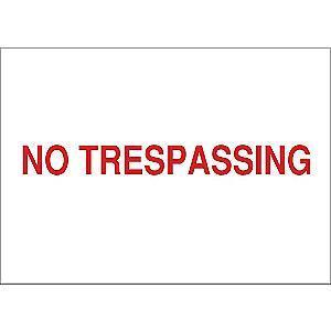 "Condor Trespassing and Property, No Header, Vinyl, 10"" x 14"", Adhesive Surface"