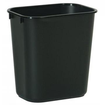 Rubbermaid Office Wastebasket, Black, Rectangle, 13-5/8-Qts.