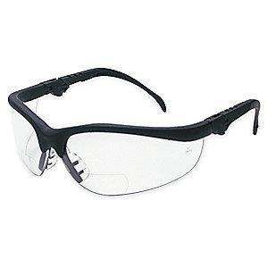 MCR Clear Scratch-Resistant Bifocal Safety Reading Glasses, +2.5 Diopter