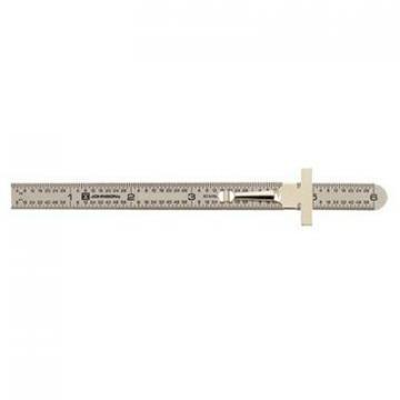 Johnson Pocket-Clip Ruler, Stainless Steel, 6""