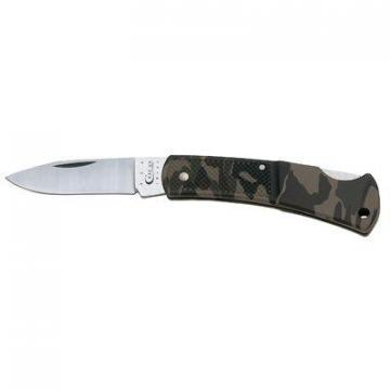 Case Caliber Lockback Pocket Knife, Stainless Steel/Camo Zytel, 3""