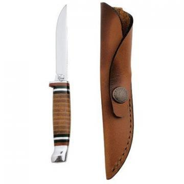 "Case Small Hunter Knife, Leather Sheath & Handle, 3-1/8"" Stainless Steel"