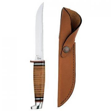 "Case Hunter Knife with Leather Handle & Sheath, 5"" Swept Skinner Stainless Steel"