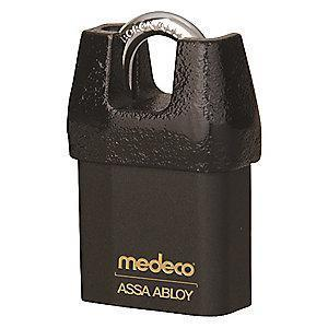"Medeco 5452500-T-26-DL-P Different-Keyed Open Shackle Padlock, 2-1/2"", Black"
