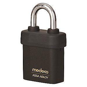 "Medeco 54515R0-T-26-DL-P Different-Keyed Open Shackle Padlock, 2-1/2"", Black"