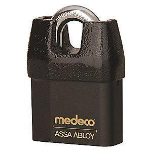 "Medeco 54725R0-T-26-DL-P Different-Keyed Open Shackle Padlock, 2-1/4"", Black"