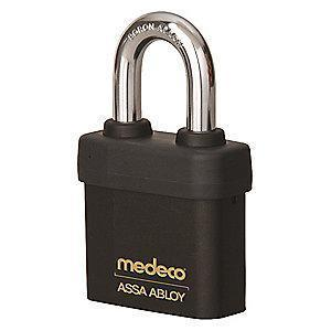 "Medeco 54715R0-T-26-DL-P Different-Keyed Open Shackle Padlock, 2-1/4"", Black"