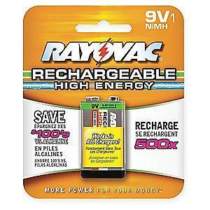 Rayovac 9V Pre-Charged Rechargeable Battery, High Energy, Nickel-Metal Hydride