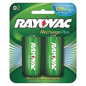 Rayovac D Pre-Charged Rechargeable Battery, Recharge Plus, Nickel-Metal Hydride