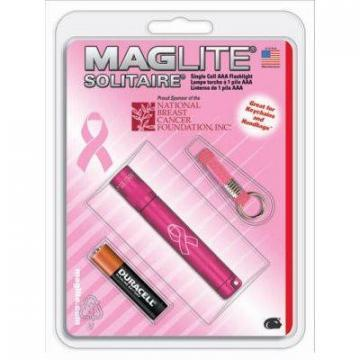 Maglite Solitaire Flashlight, 2-Lumens, Pink for Breast Cancer Foundation