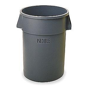 "Rubbermaid BRUTE 32 gal. Round Open Top Utility Trash Can, 27-1/4""H, Gray"