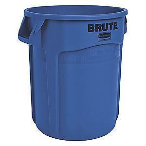 "Rubbermaid BRUTE 55 gal. Round Open Top Utility Trash Can, 33""H, Blue"