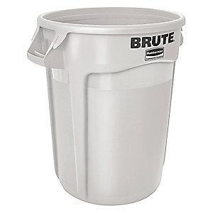 "Rubbermaid BRUTE 10 gal. Round Open Top Utility Trash Can, 17""H, White"