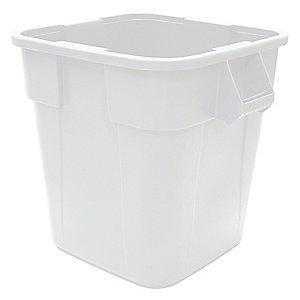 "Rubbermaid BRUTE 40 gal. Square Open Top Utility Trash Can, 28-3/4""H, White"