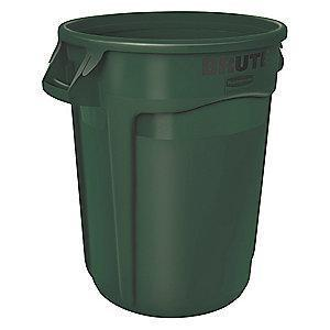"Rubbermaid BRUTE 20 gal. Round Open Top Utility Trash Can, 23""H, Green"