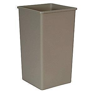 "Rubbermaid Slim Jim 50 gal. Square Open Top Utility Trash Can, 34-1/4""H, Beige"
