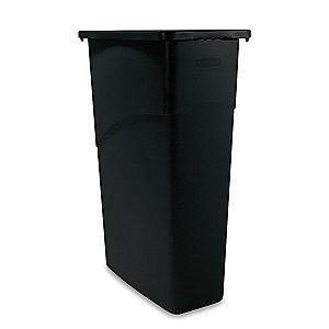 "Rubbermaid Slim Jim 23 gal. Rectangular Open Top Utility Trash Can, 30""H, Black"