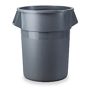 "Rubbermaid BRUTE 10 gal. Round Open Top Utility Trash Can, 17""H, Gray"