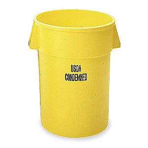 "Rubbermaid BRUTE 32 gal. Round Open Top Utility Trash Can, 27-1/4""H, Yellow"