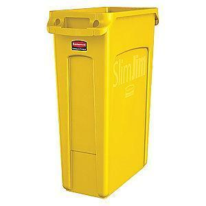 "Rubbermaid Slim Jim 23 gal. Rectangular Open Top Utility Trash Can, 30""H, Yellow"